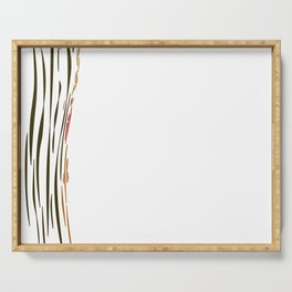 Exotic jungle lines, on white Serving Tray