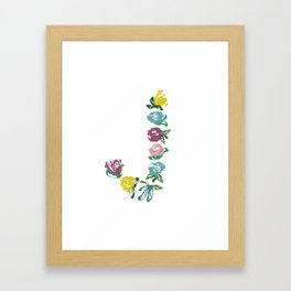 Floral J Monogram Framed Art Print
