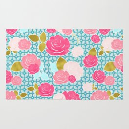 Blue & Pink Roses Allover with Geometric Pattern and Gold Rug