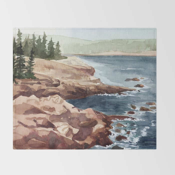 Acadia Coastline Throw Blanket