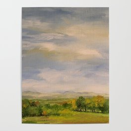 Scenic Autumn Late Afternoon in Vermont Nature Art Landscape Oil Painting Poster