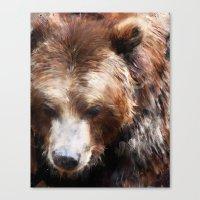 bear Canvas Prints featuring Bear // Gold by Amy Hamilton