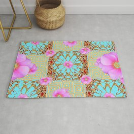 Delicate French Style Aqua Pink Wild Rose Gold Jewelry Abstract Rug