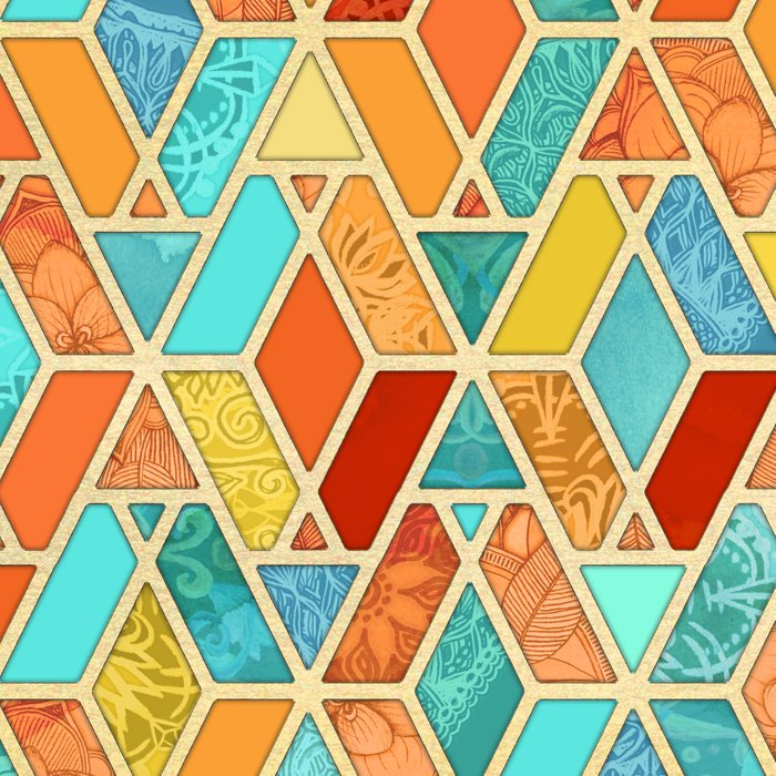 Tangerine & Turquoise Geometric Tile Pattern Leggings