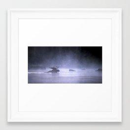 morning moose in the mist Framed Art Print