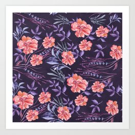Modern hand painted violet pink coral watercolor floral Art Print