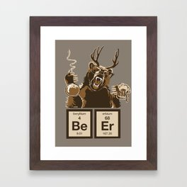 Funny chemistry bear discovered beer Framed Art Print