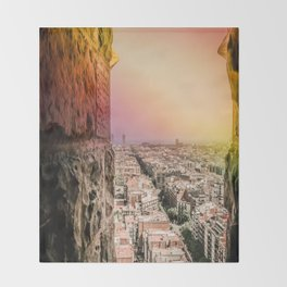 Colorful Rainbow over the Old City of Barcelona Throw Blanket