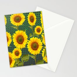 MODERN OPTICAL ART SUNFLOWER FIELD Stationery Cards