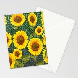 MODERN OPTICAL ART SUNFLOWER FIELD Stationery Cards