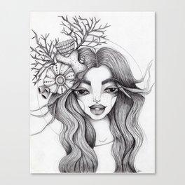 JennyMannoArt Graphite Drawing/Serena the mermaid Canvas Print