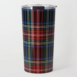 Minimalist Black Stewart Tartan Travel Mug