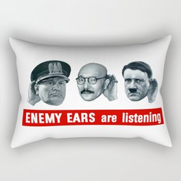 Enemy Ears Are Listening -- WWII Propaganda Rectangular Pillow