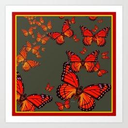 Orange is the  Color Of Monarch Butterflies Art Print