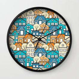 Town houses and streets, roofs of houses Wall Clock