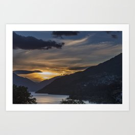 Sunset on Queenstown and Lake Wakatipu Art Print