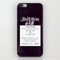 haunted mansion iPhone & iPod Skins featuring Haunted Mansion Fastpass by margybear