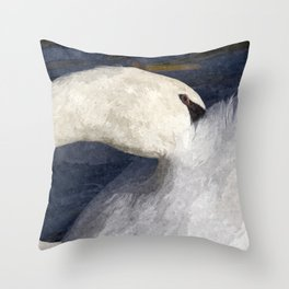 The Shy Swan Art Throw Pillow