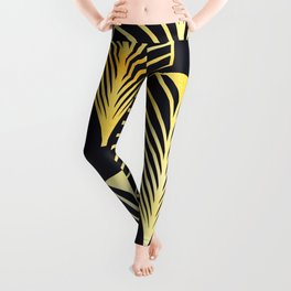 Gold Black Deco Leaf Leggings