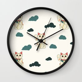 manekineko pattern Wall Clock
