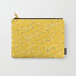 Polka Dots Stamps on Vivid Yellow Carry-All Pouch
