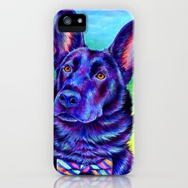 Colorful Black German Shepherd Dog iPhone Case