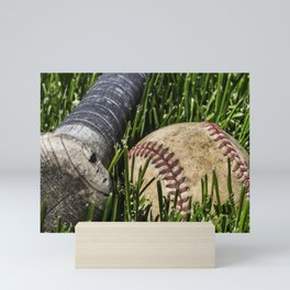 Baseball and Bat on Grass 2 Mini Art Print