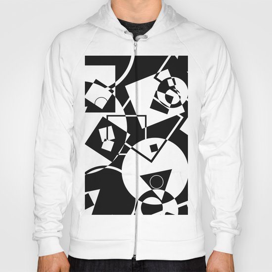 Simply Black And white - Abstract, geometric, retro, black and white random pattern Hoody