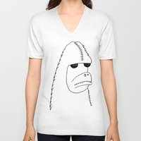 sasquatch V-neck T-shirts featuring Sasquatch by NarwhalWolf
