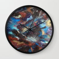 "courage Wall Clocks featuring ""Courage"" by Kasia Pawlak"