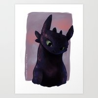 toothless Art Prints featuring Toothless by tsunami-sand