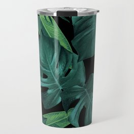 Tropical Summer Night Jungle Leaves Dream #1 #tropical #decor #art #society6 Travel Mug