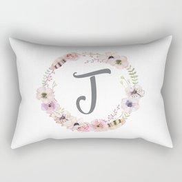 Floral Wreath - J Rectangular Pillow