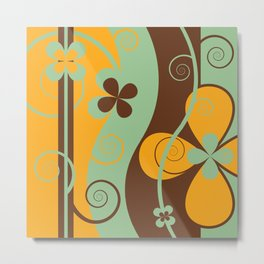 Modern Retro Floral Graphic Art Metal Print