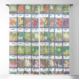 Veggie Seeds Pattern Sheer Curtain