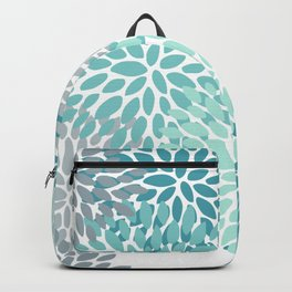 Floral Pattern, Aqua, Teal, Turquoise and Gray Backpack