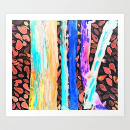 Rainbow Eucalyptus Graffiti artist tree Tries to get ready for the Fall Autumn Art Print