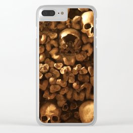 Bones and Skulls in Paris, France catacombs Clear iPhone Case