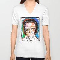 christopher walken V-neck T-shirts featuring Christopher Walken by Eric Sokoloff