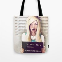party Tote Bags featuring Alice by adroverart