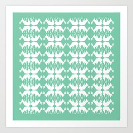 Oh, deer! in mint green Art Print