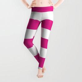Barbie Pink (Pantone) - solid color - white stripes pattern Leggings