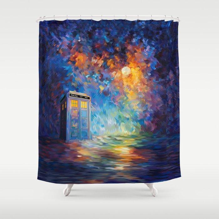 Tardis Doctor Who Rainbow Abstract Shower Curtain