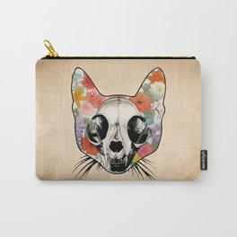 Floral Cat Skull - Grunge Carry-All Pouch
