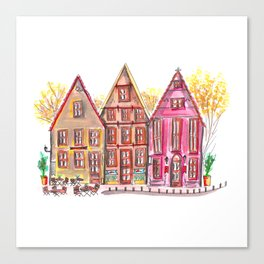 Coloured houses II Canvas Print