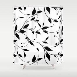 FLOWERY VINES | white black Shower Curtain