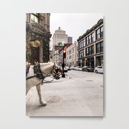Photograph of Beautiful Street in Old Port Montreal, with a Horse Walking into Sight Metal Print