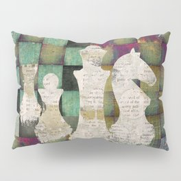 Paint and Print  Chessboard and Chess Pieces Pillow Sham