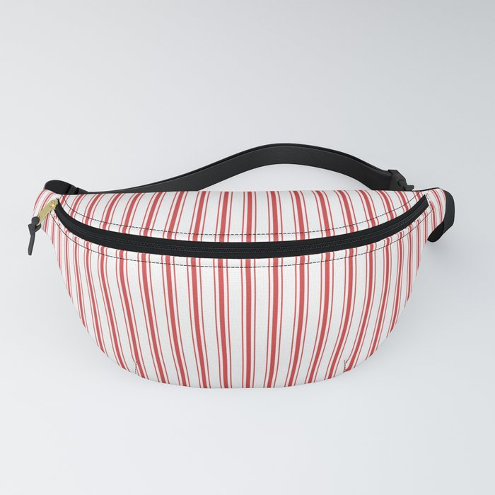 Mattress Ticking Narrow Striped Pattern in Red and White Fanny Pack
