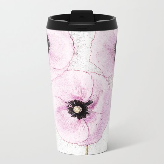 Delicate Poppies Metal Travel Mug